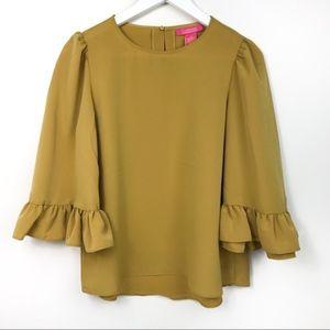 Catherine Malandrino Mustard Bell Sleeves Blouse